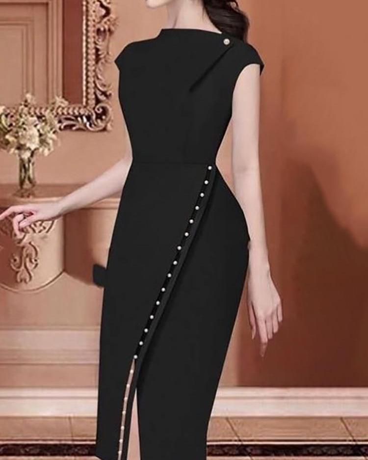joyshoetique / Beading Embellished Slit Irregular Midi Dress