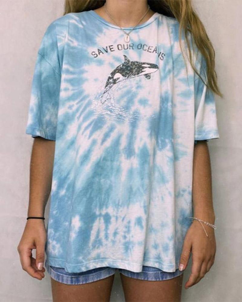 ivrose / Camiseta de manga corta con efecto tie dye