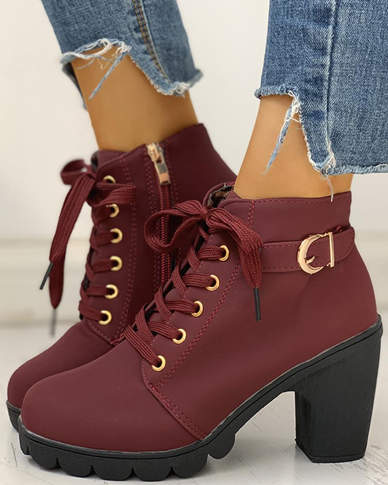 Suede Eyelet Lace-Up Buckled Chunky Heeled Ankle-Boots, Wine red