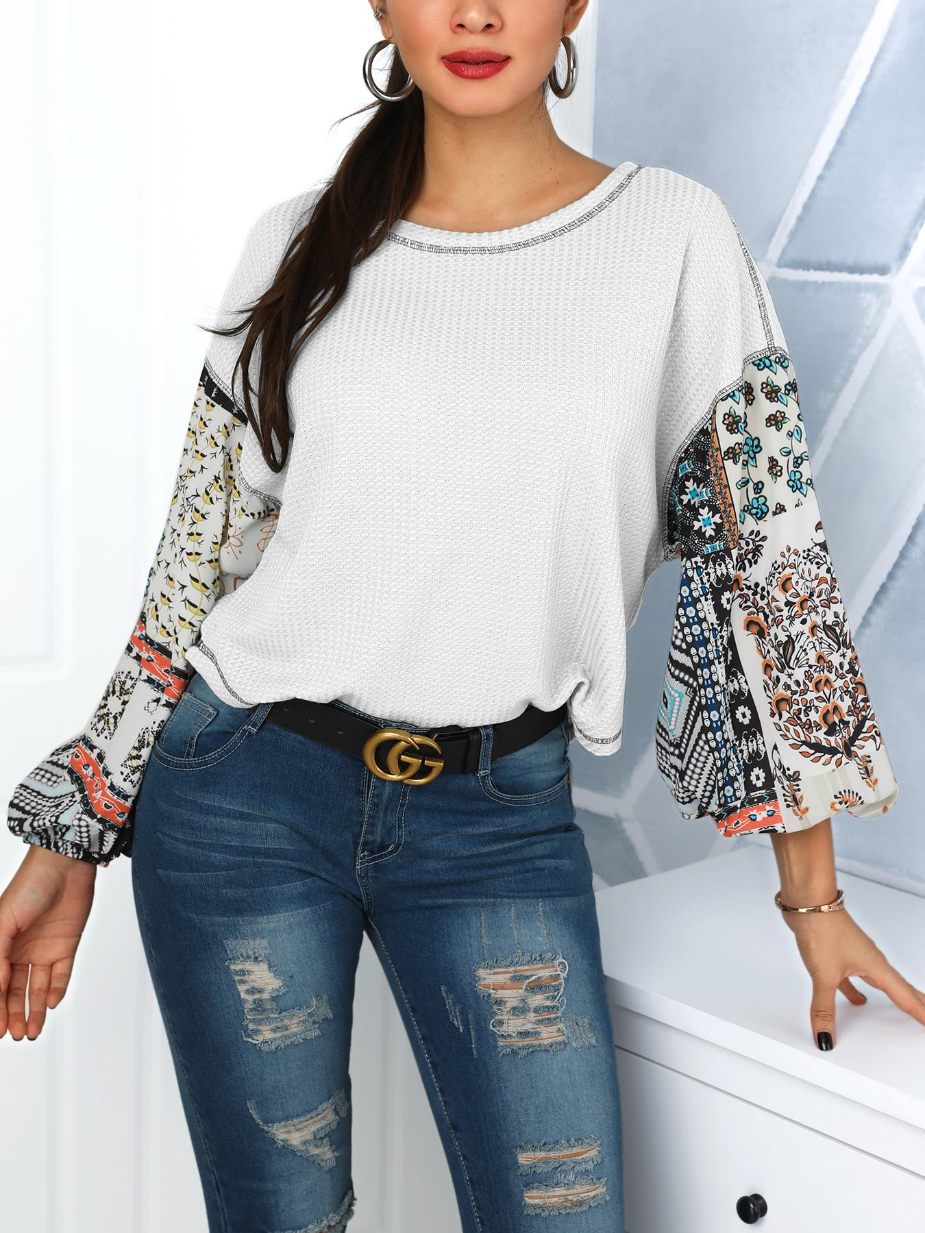 Ethnic Print Lantern Sleeve T-Shirt