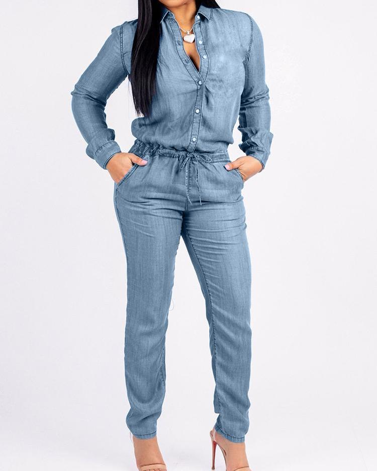 Denim Long Sleeve Pocket Drawstring Jumpsuit, Blue