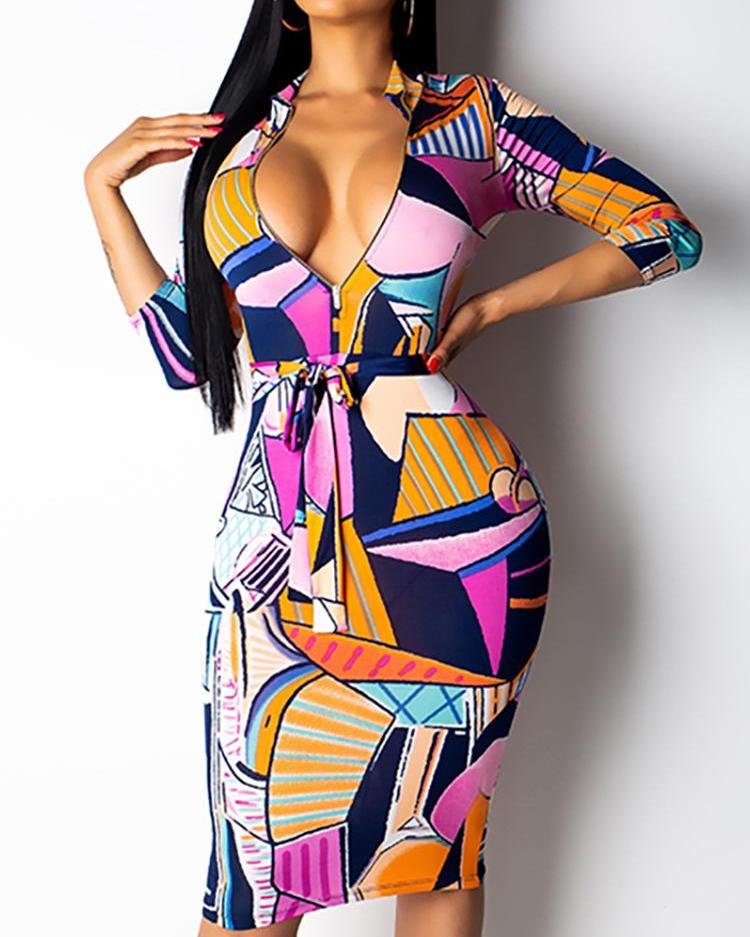 Digital Print Zipper Design Bodycon Dress