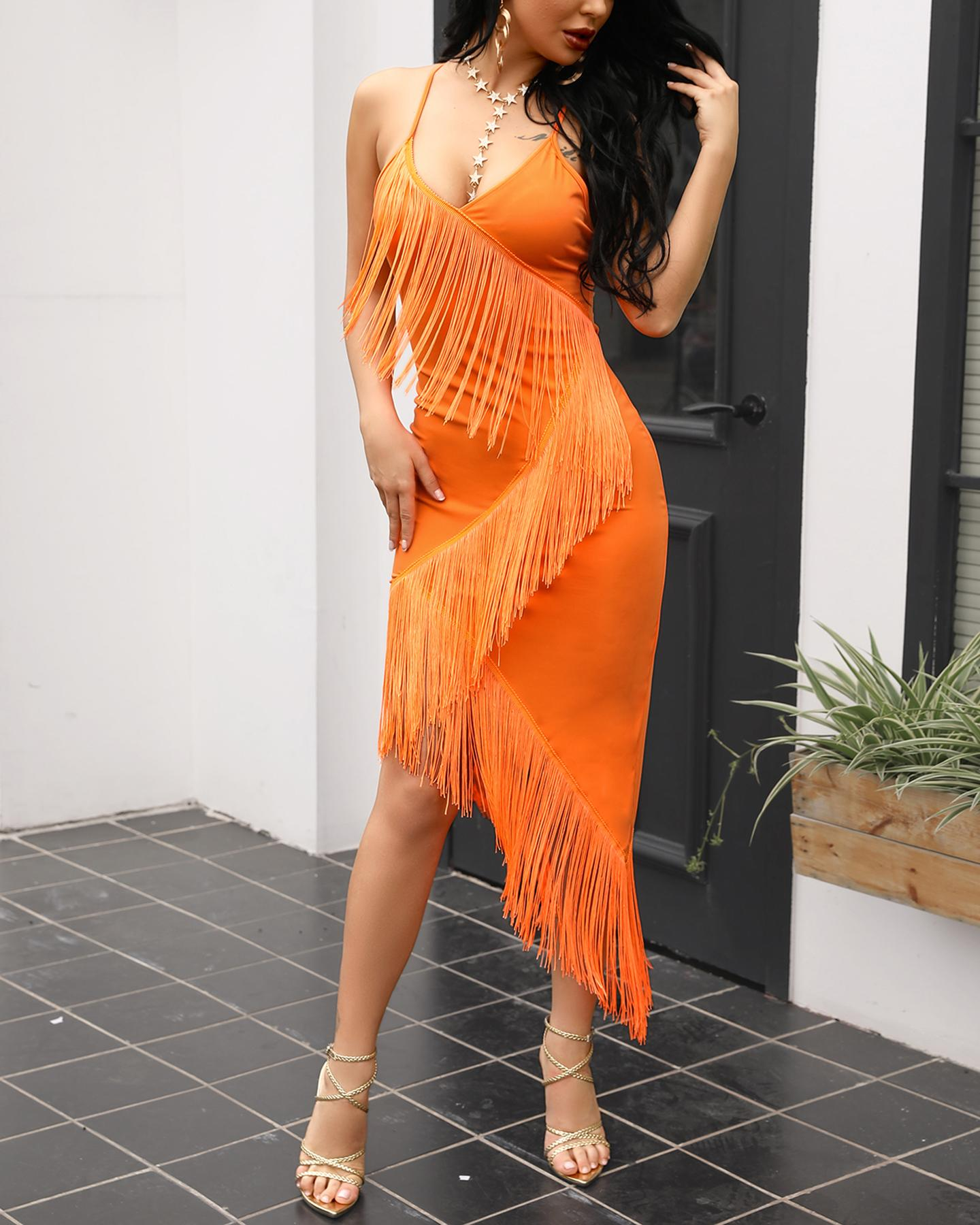 Tassel Design Spaghetti Strap Bodycon Dress