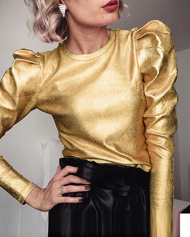 Metallic Color Puff Sleeve Top, Gold