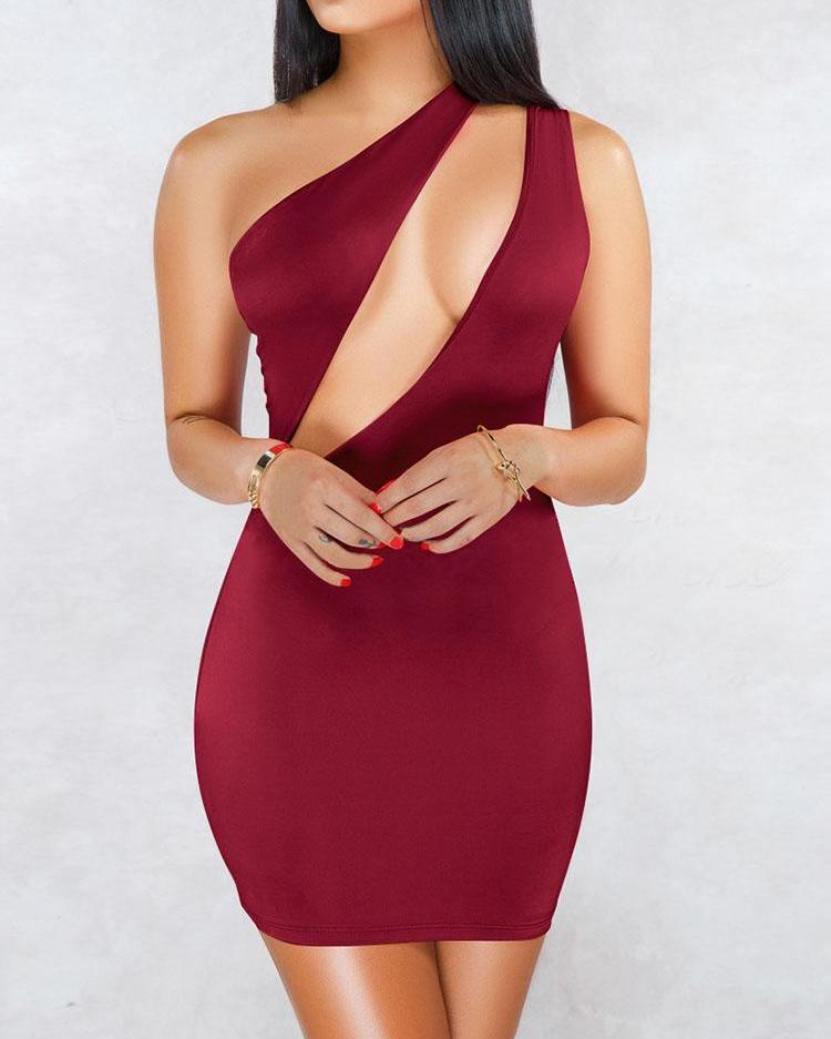 One Shoulder Cutout Front Bodycon Dress