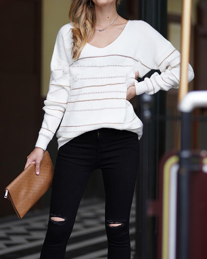 Golden Striped Long Sleeve Knitted Sweater фото