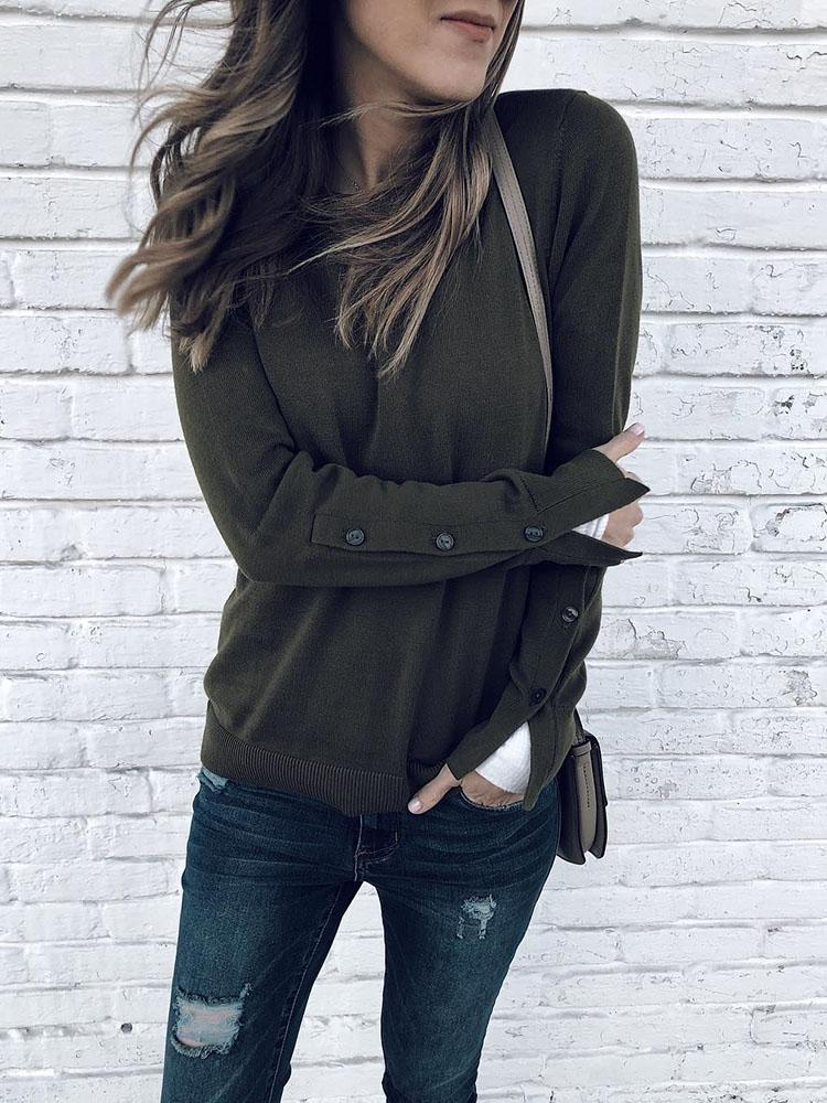 Button Detail Long Sleeve Pullover Sweatshirt
