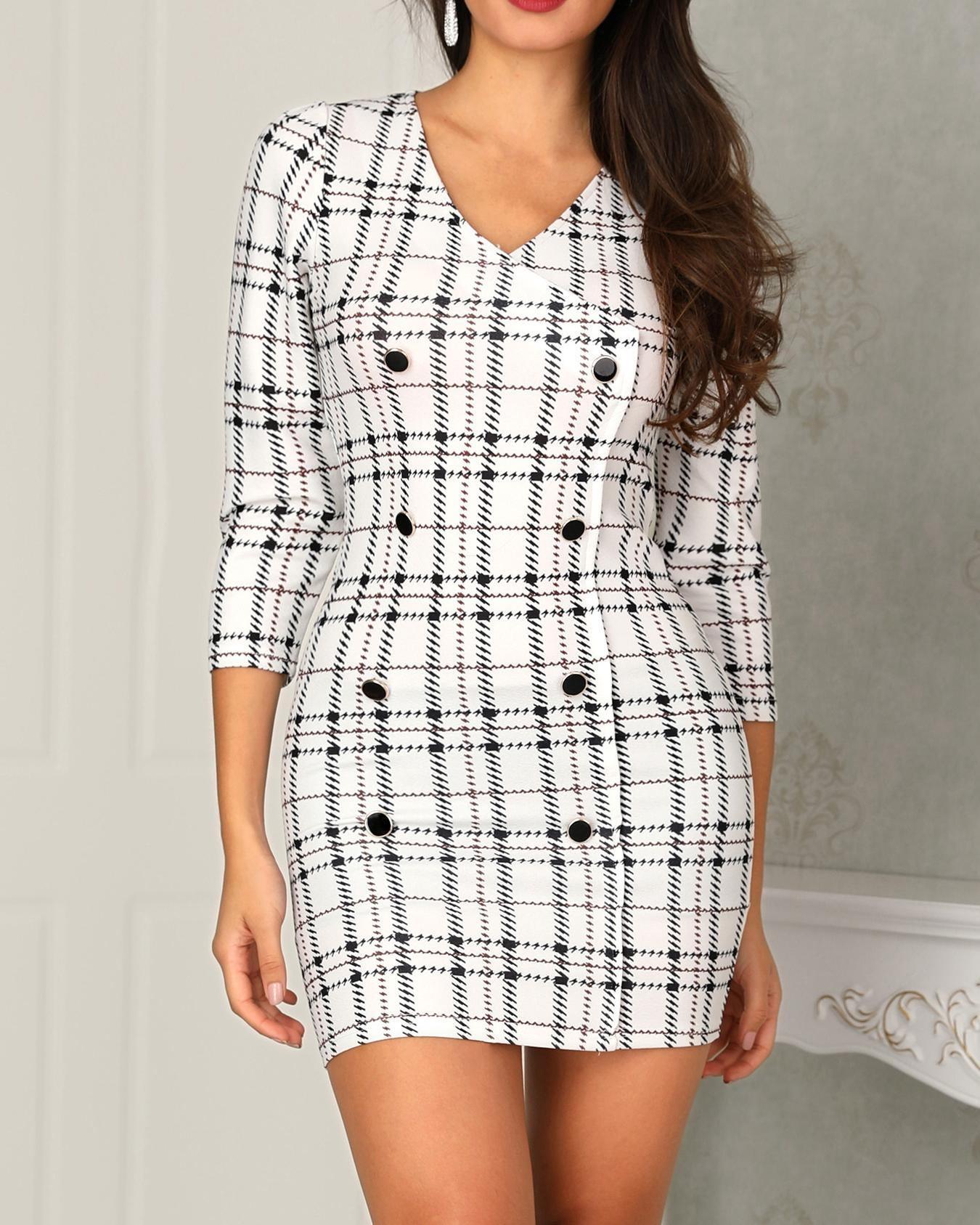 Plaid Print Double Breasted Blazer Dress