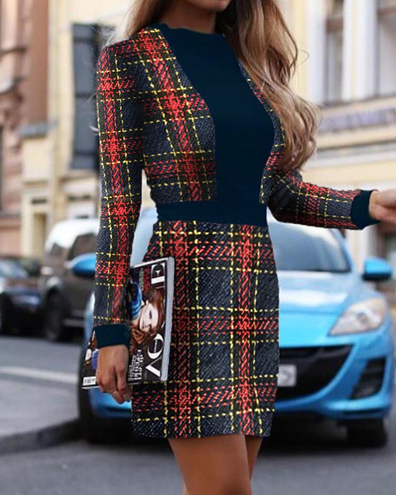 ivrose / Vestido a cuadros de manga larga con aplicación de bloques de color