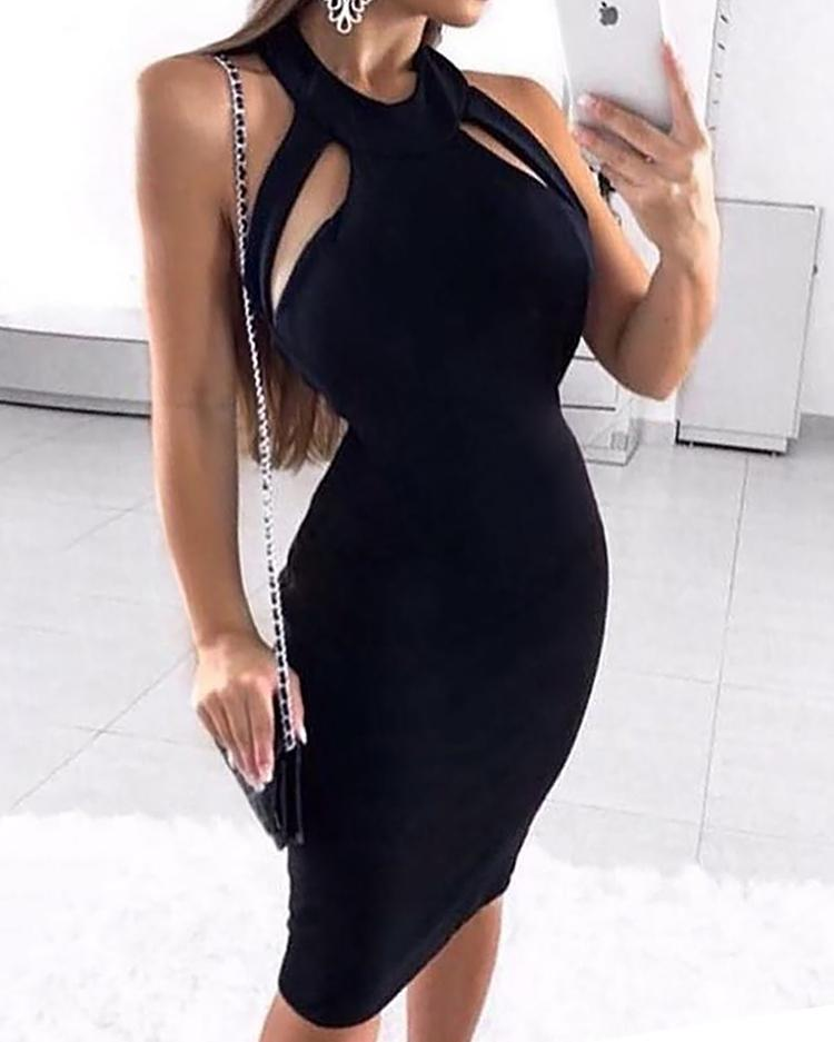 Sleeveless Bandage Design Bodycon Dress, Black
