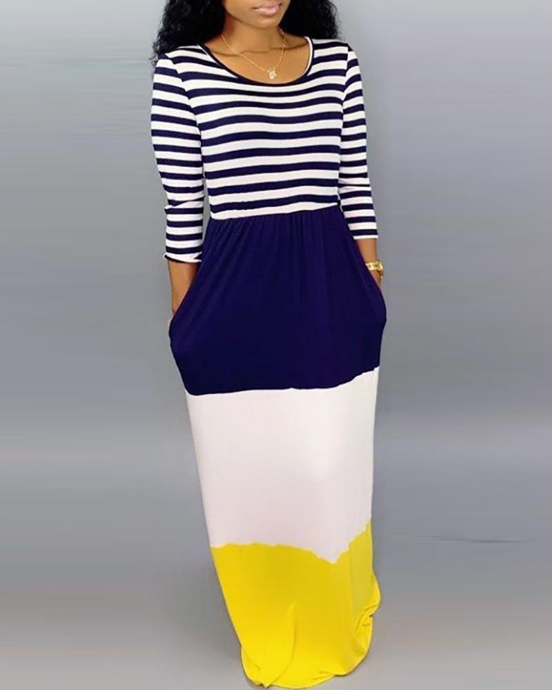 Striped Color Block Insert Maxi Dress фото