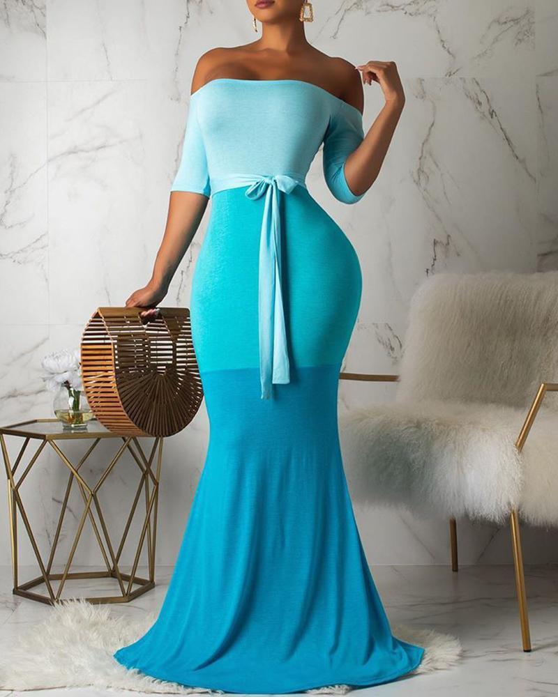 Off Shoulder Gradient Color Maxi Dress фото