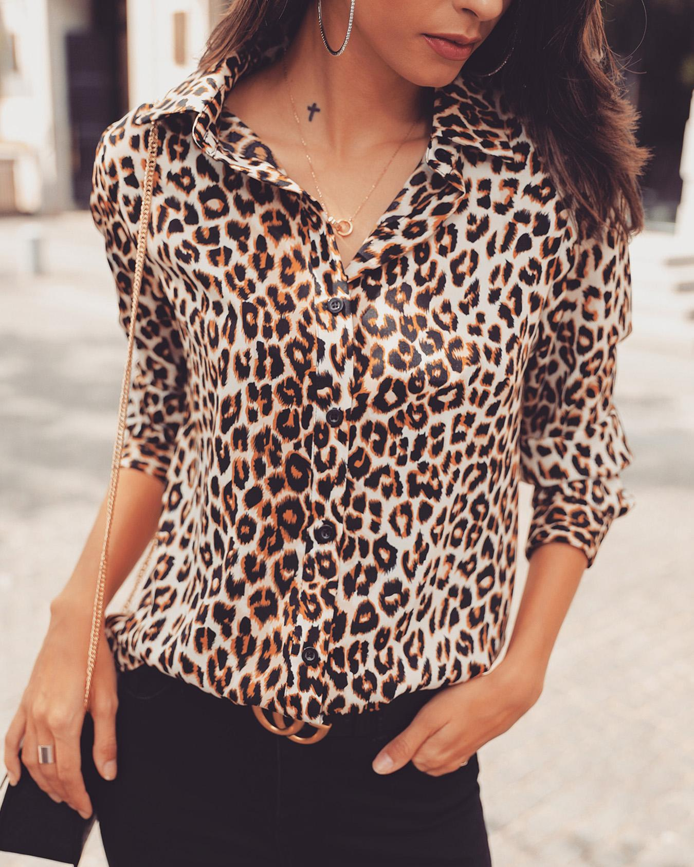 Long Sleeve Leopard Print Casual Shirt, Brown