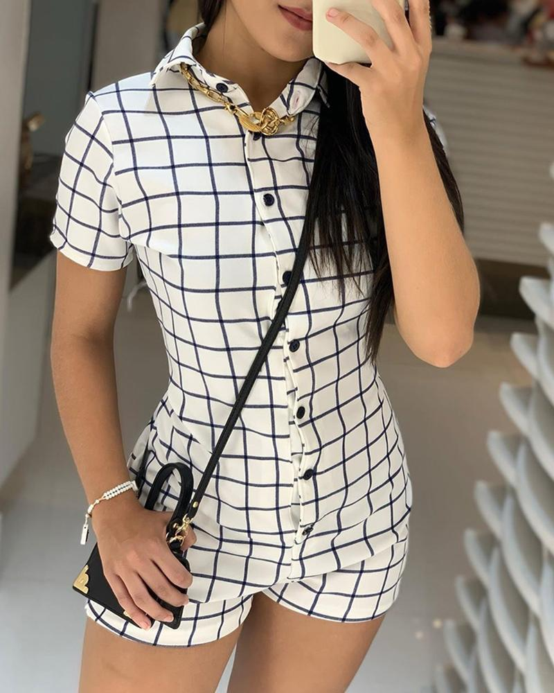 Buttoned Grid Short Sleeve Casual Romper фото