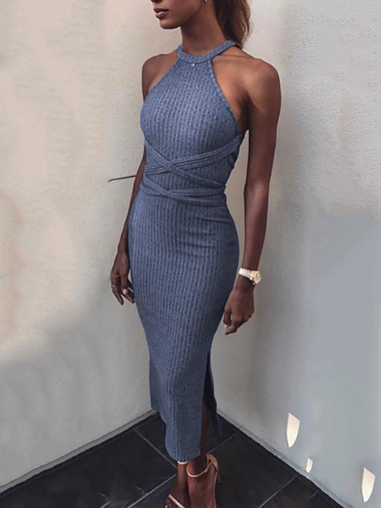 boutiquefeel / Vestido ajustado dividido cintura cruzada halter