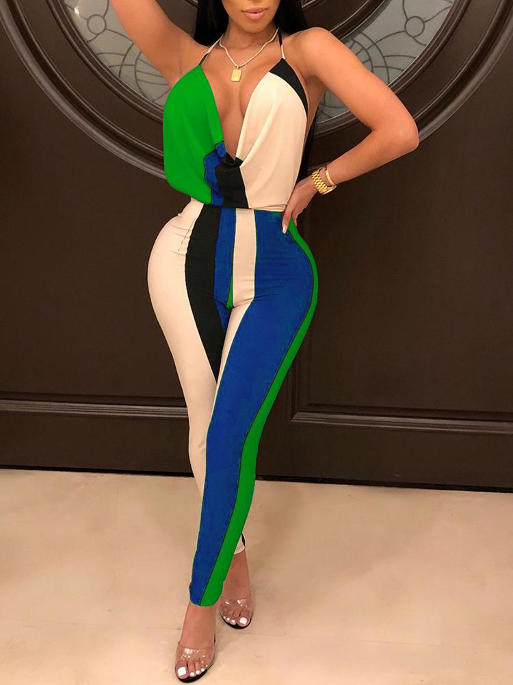 Color Block V Neck Halter Backless Jumpsuit