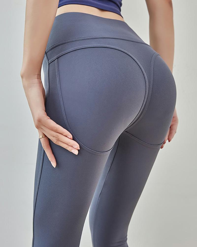 High Waist Solid Yoga Leggings фото
