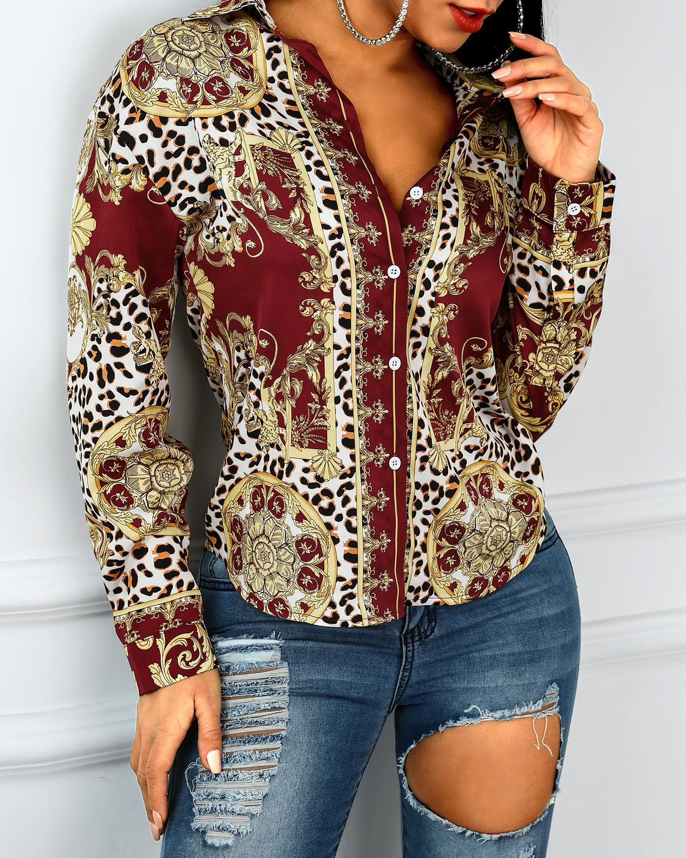 Ethnic Print Button Up Long Sleeve Blouse фото