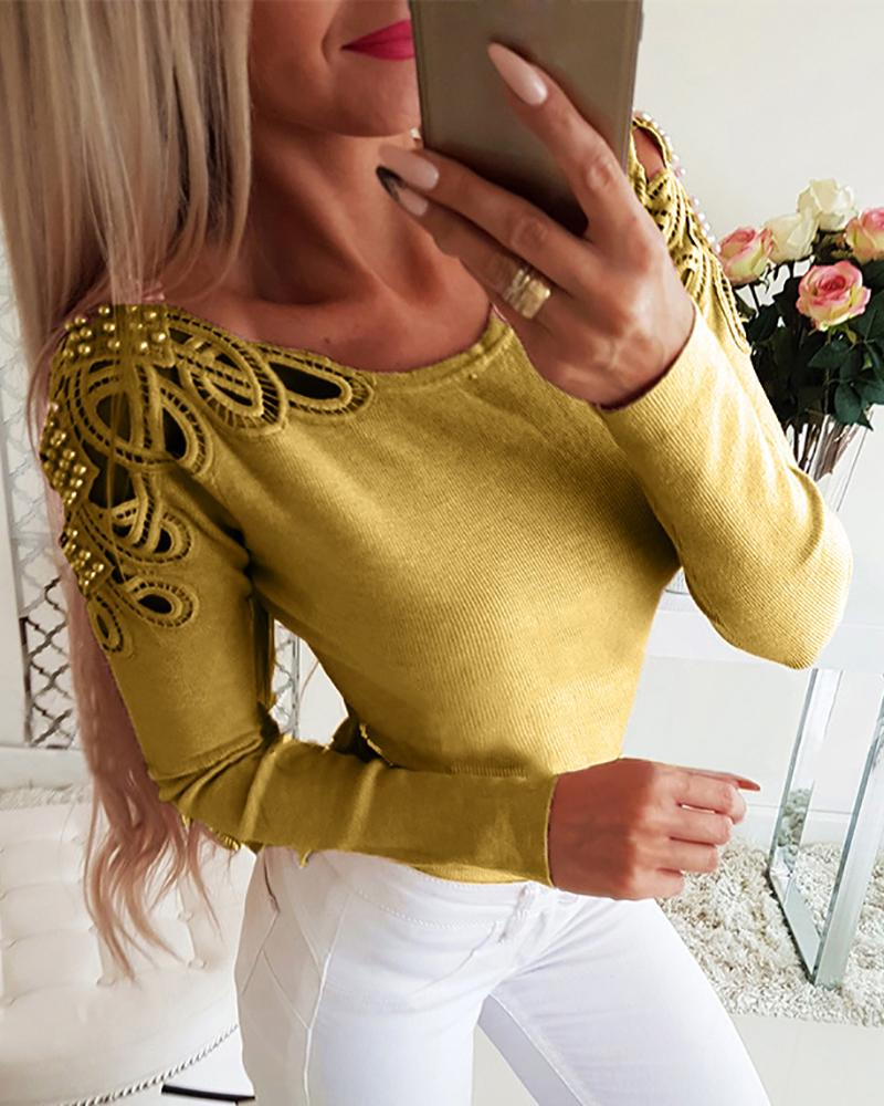 ivrose / Beaded Hollow Out Ribbed Blouse
