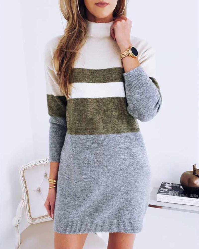 High Neck Colorblock Long Sleeve Knitting Sweater Dress фото