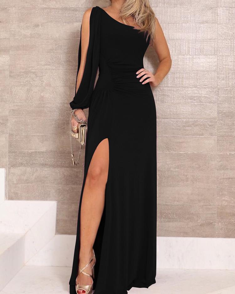 One Shoulder Slit Sleeve High Slit Party Dress, Black
