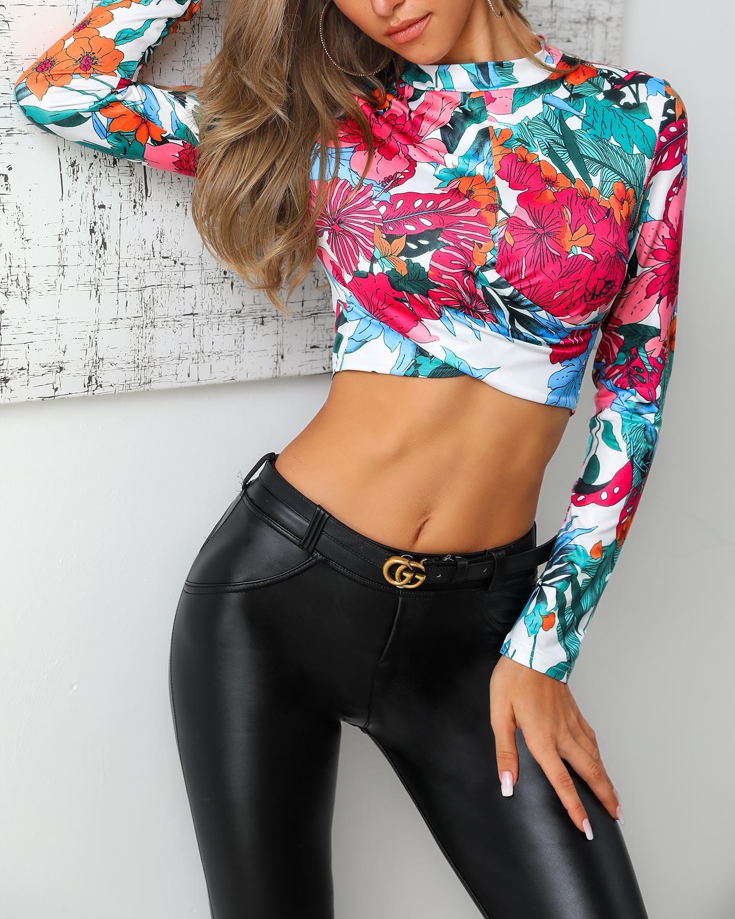 Tropical Print Long Sleeve Casual Top фото