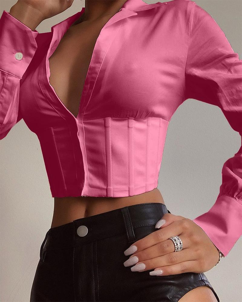 Solid Collared Corset Crop Top, Pink