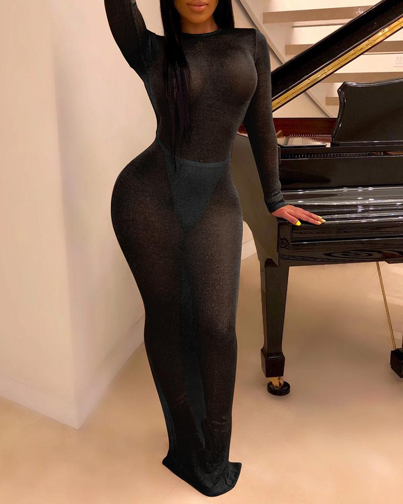 Long Sleeve Backless See Through Bodycon Dress фото