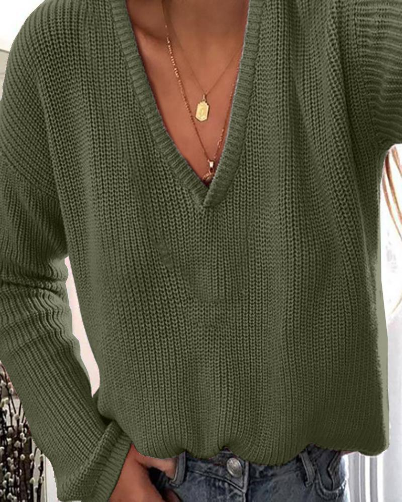 Solid Plunge Long Sleeve Knit Sweater фото