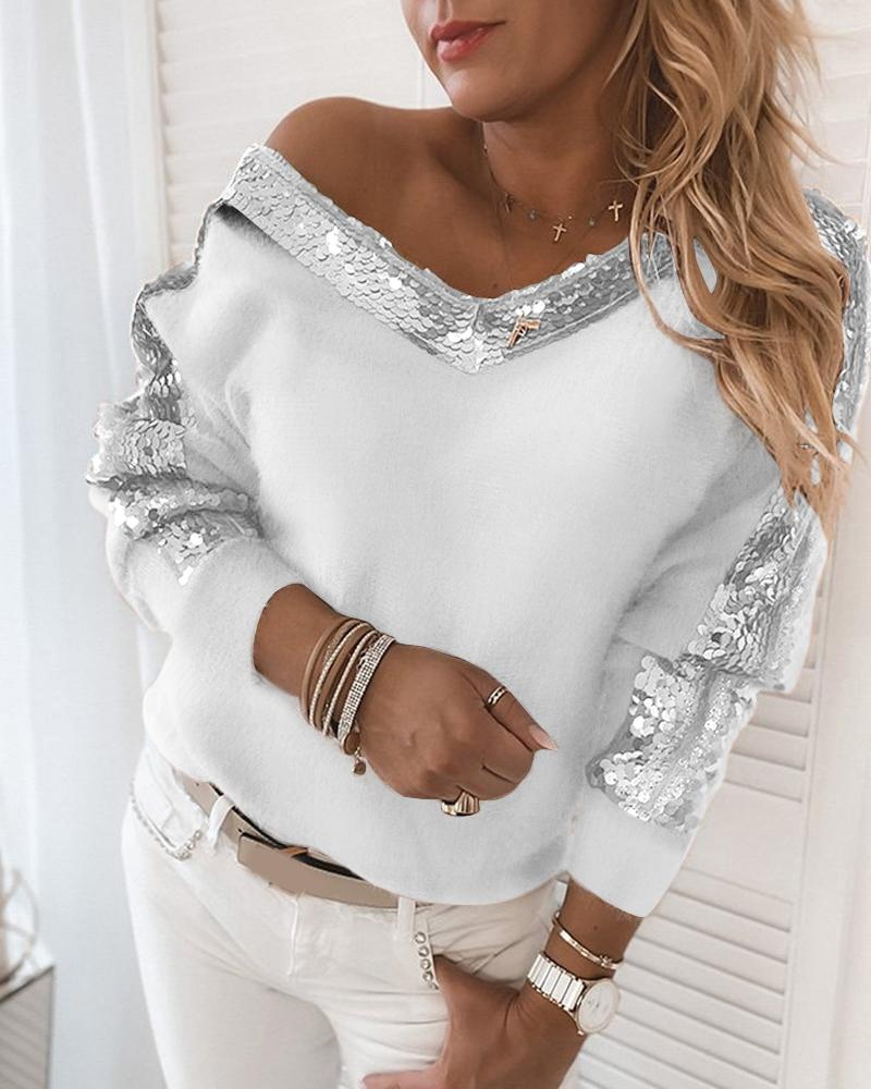 Sequins Fluffy Long Sleeve Sweater фото
