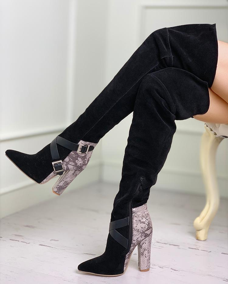 Suede Snakeskin Insert Over The Knee Boots