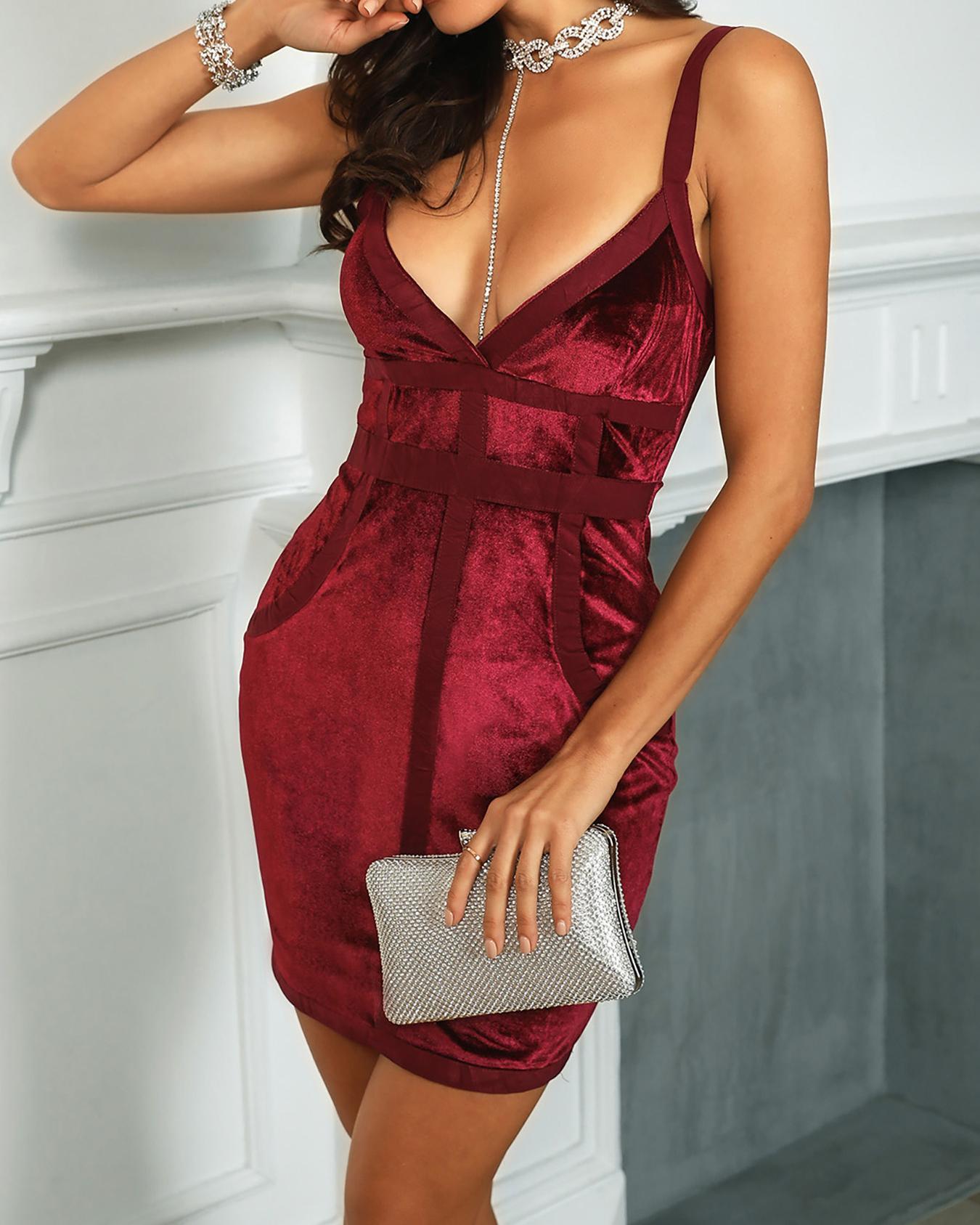 Velvet Deep V-Neck Thin Strap Bandage Dress