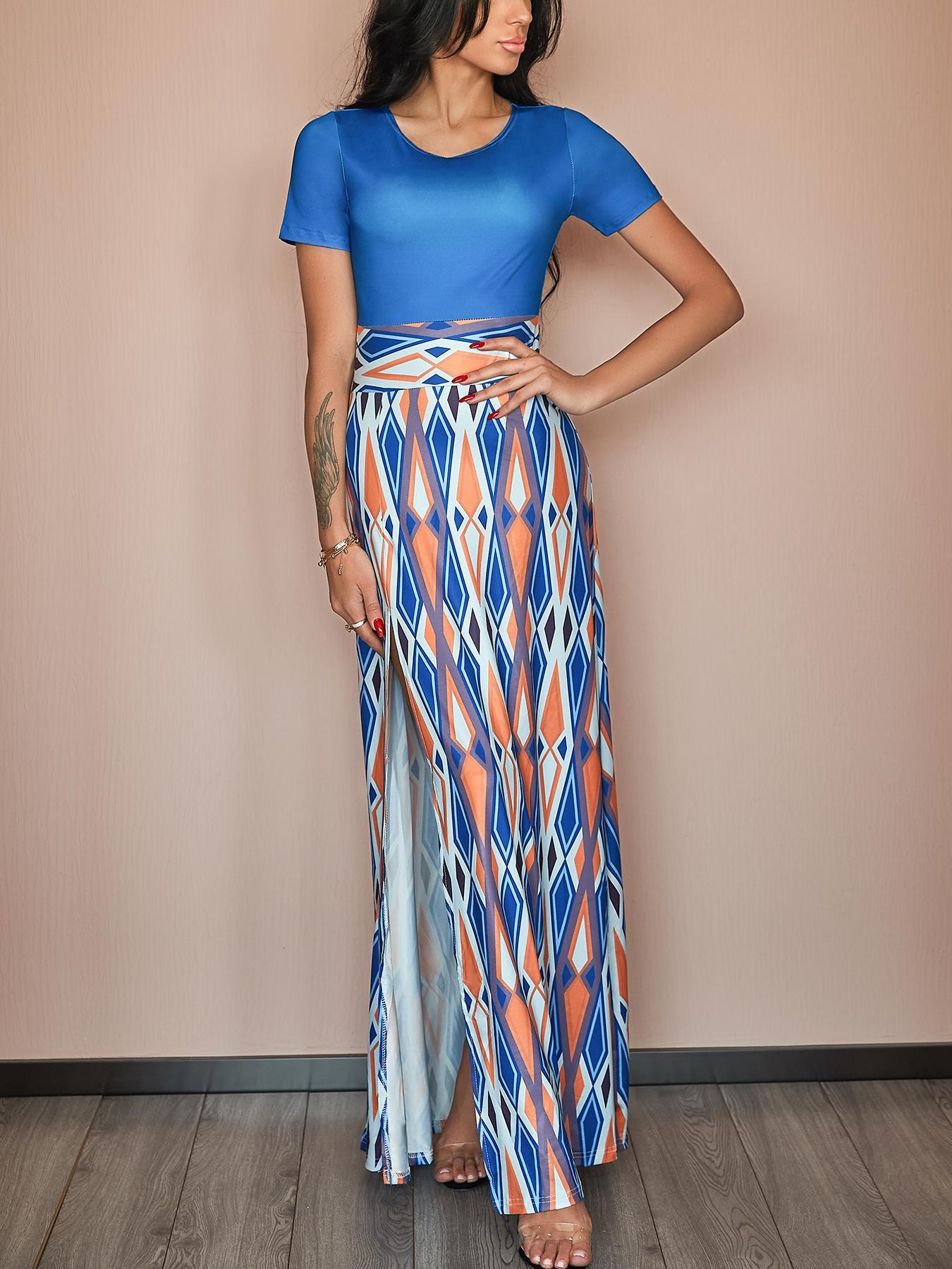 Splicing Retro Style High Slit Maxi Dress фото