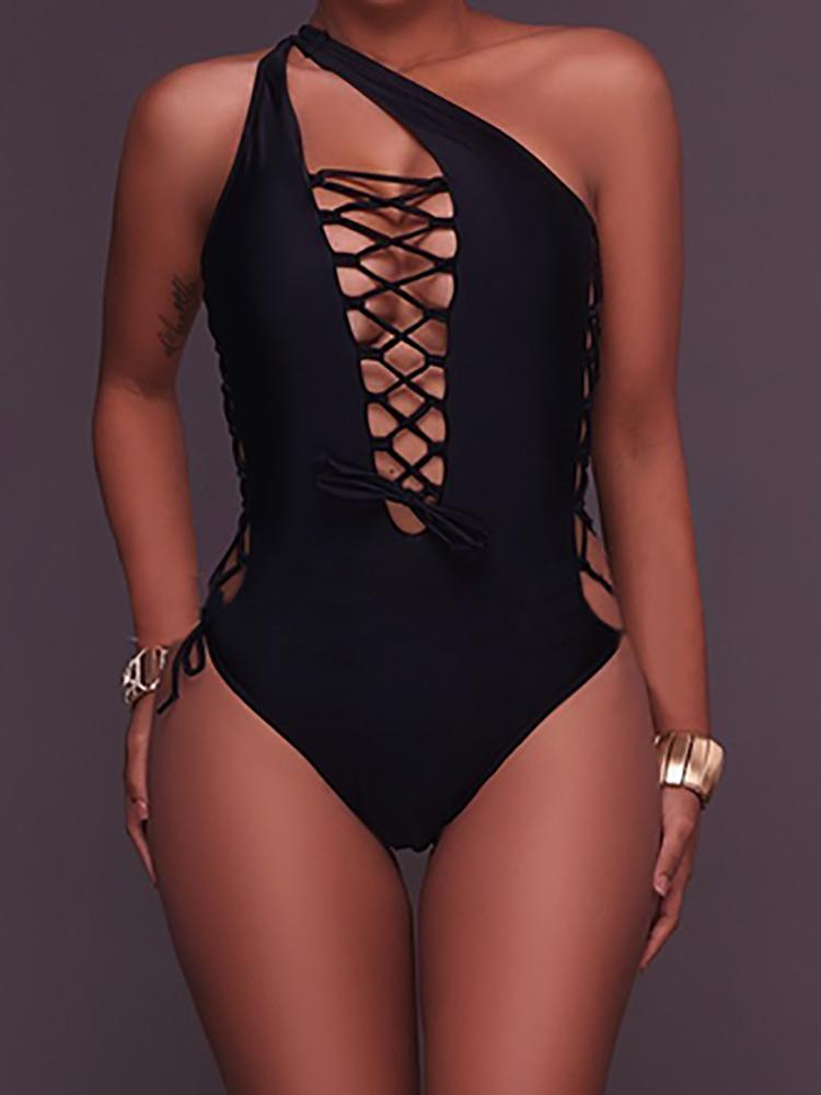 Alluring Lace-up Hollow Swimwear One-piece