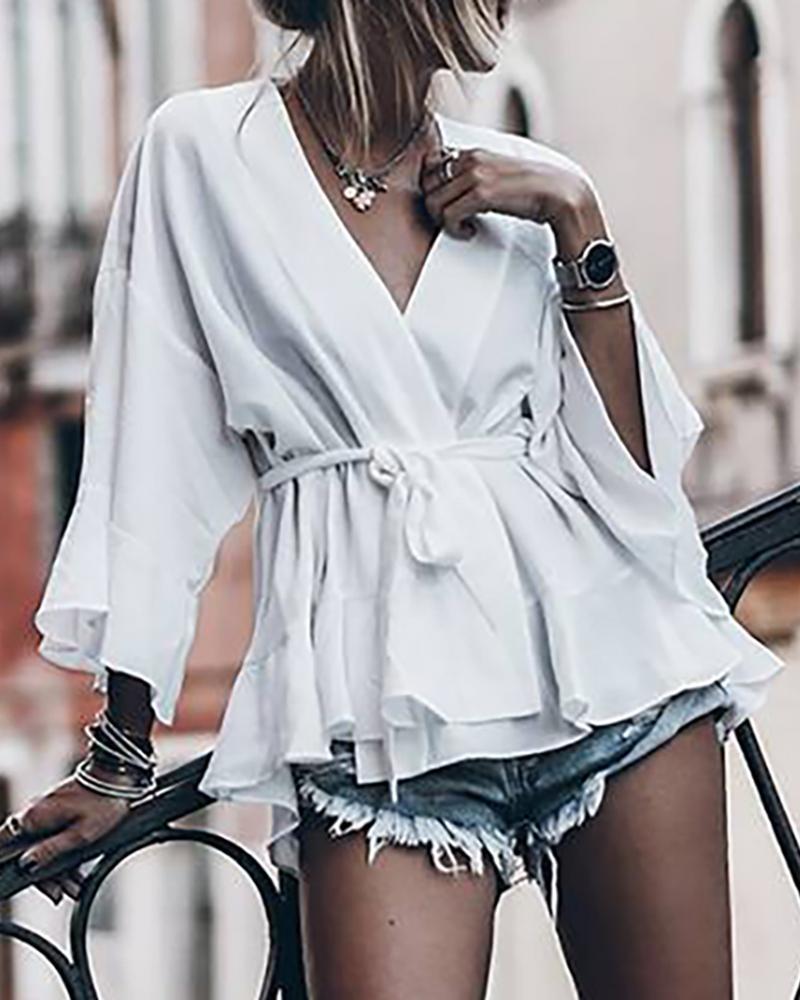 chicme / Sólido amarrado cintura sino blusa de manga