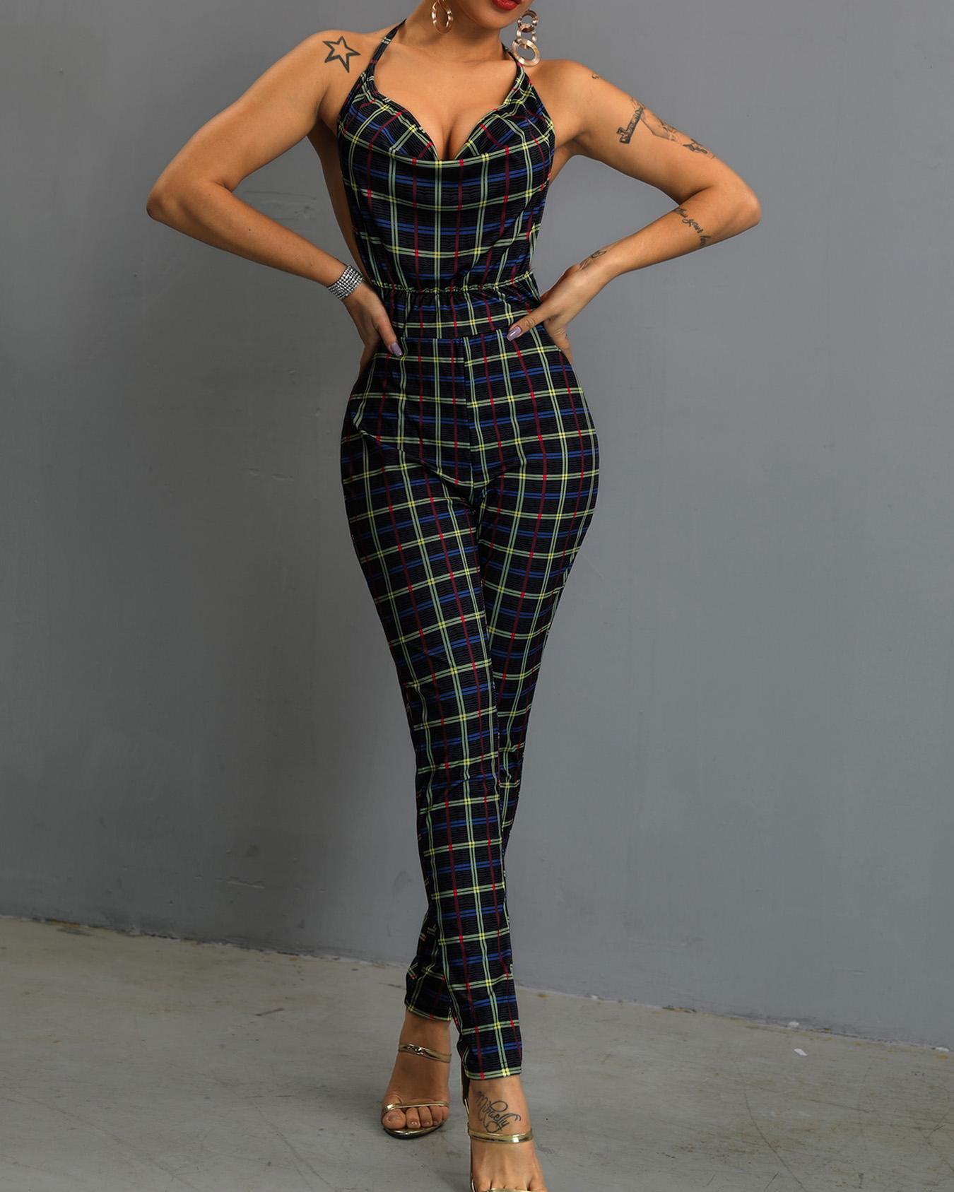 Deep V Halter Backless Plaid Petite Jumpsuit