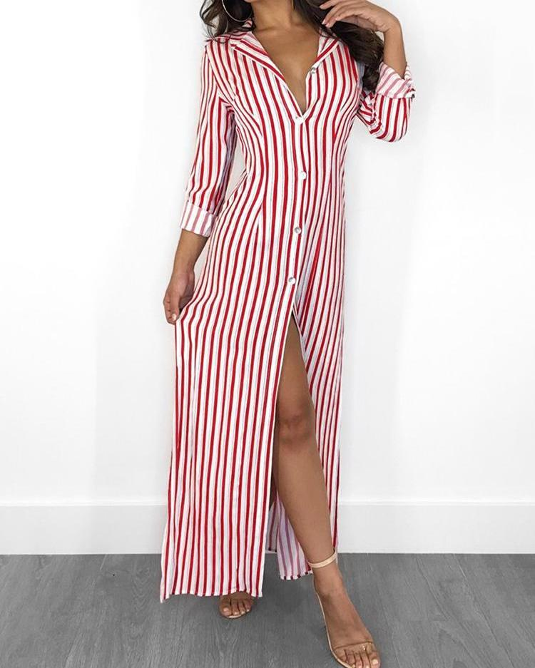 Stripes Long Sleeve Button Up Slit Maxi Shirt Dress