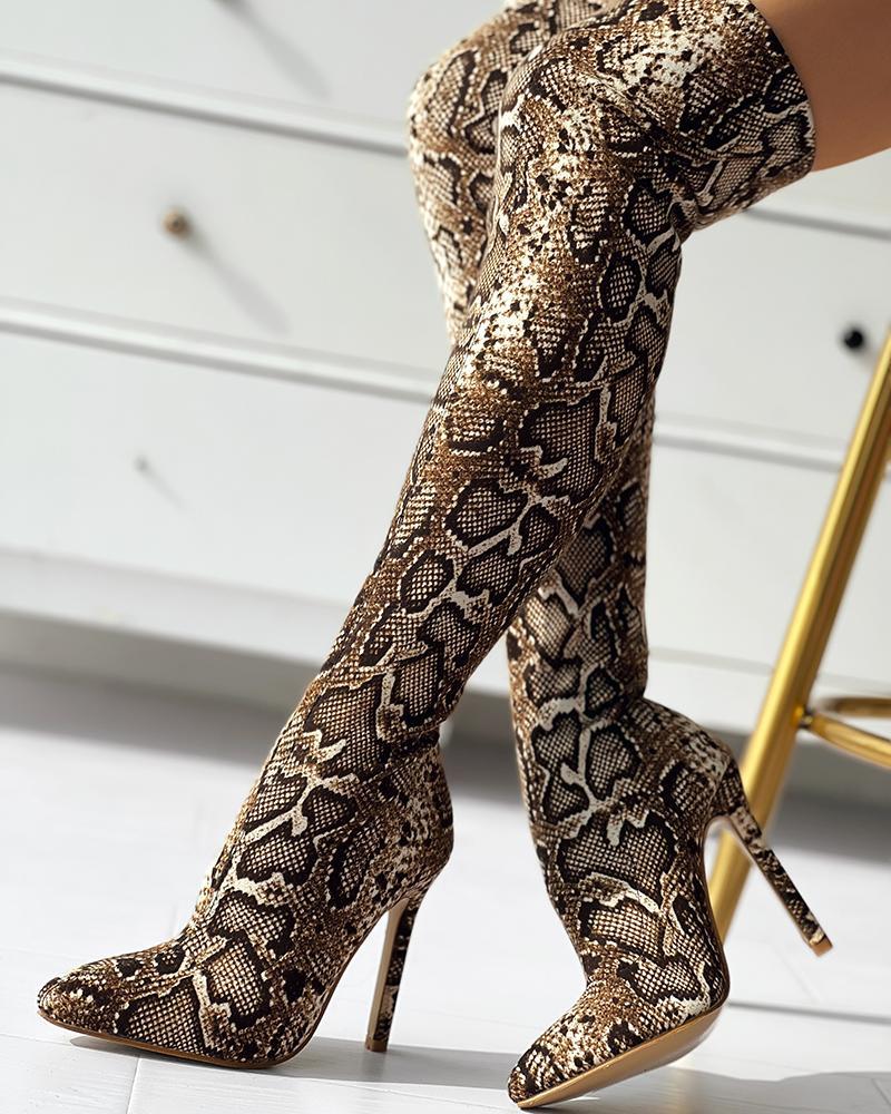 ivrose / Snakeskin Print Thin Heeled Thigh High Boots