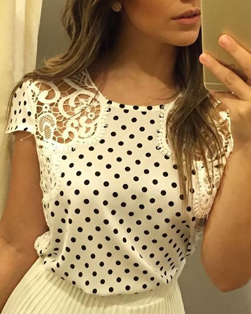 ivrose / Dot Imprimir Crochet Lace Inserir Blusa Casual