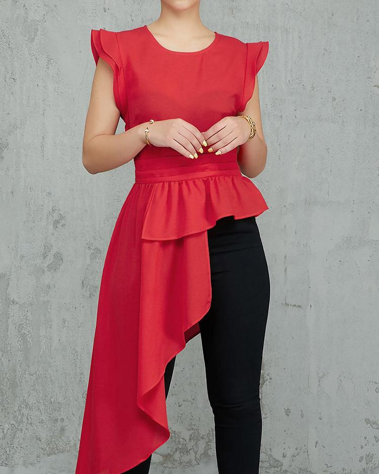 Flutter Sleeve Irregular Flounced Hem Blouse фото