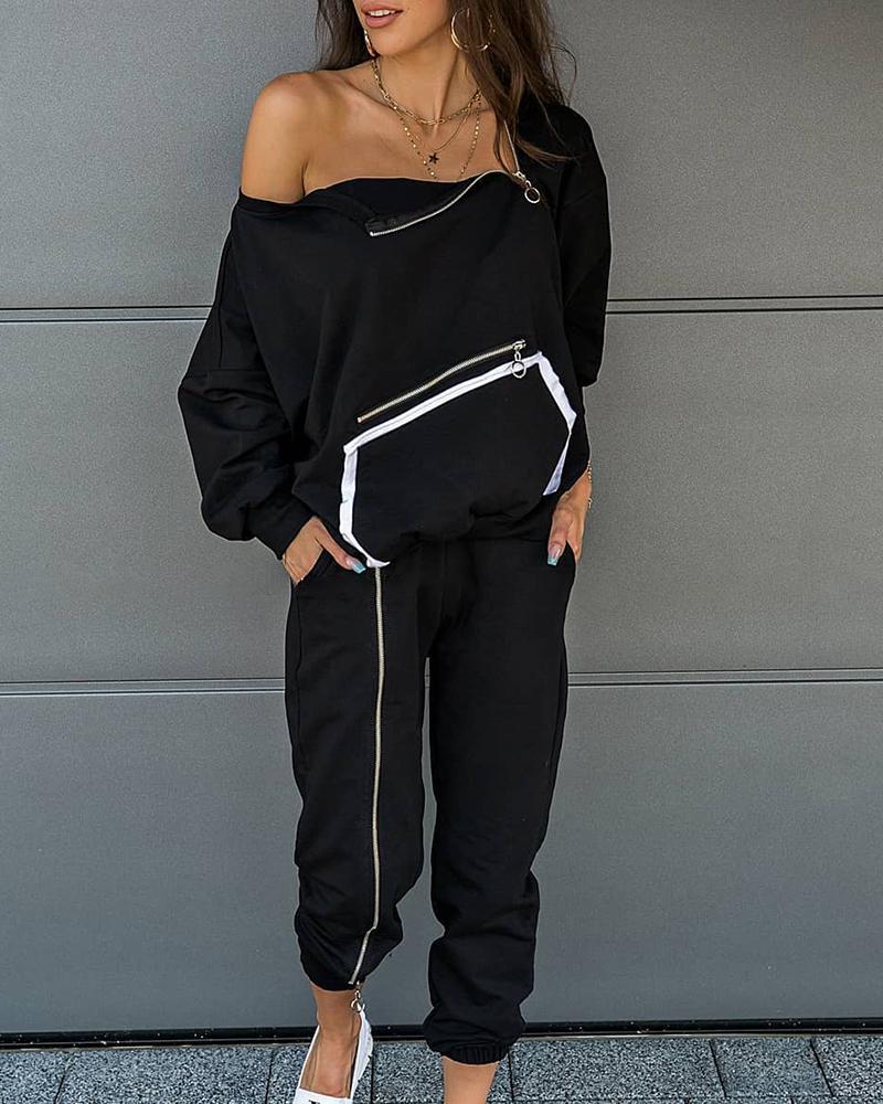 boutiquefeel / Conjunto de blusa e calça colorida com zíper com design de bolso