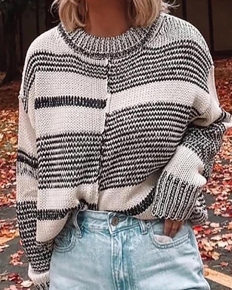 Colorblock Long Sleeve Casual Knit Sweater фото