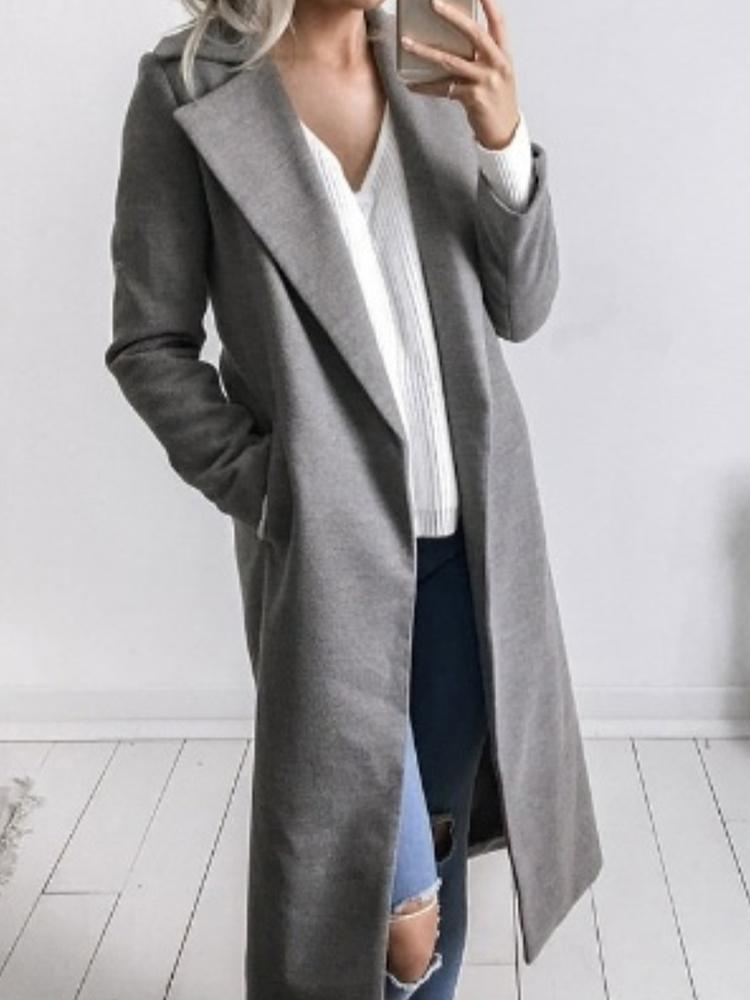 Купить со скидкой Fashion Solid Lapel Collar Trench Coat - Gray
