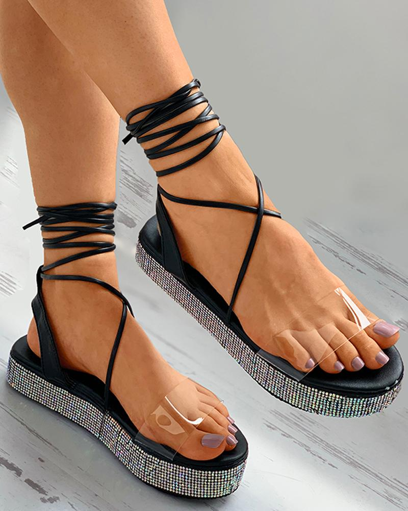 chicme / Sandálias Gladiador com Tachas Transparentes de Perspex