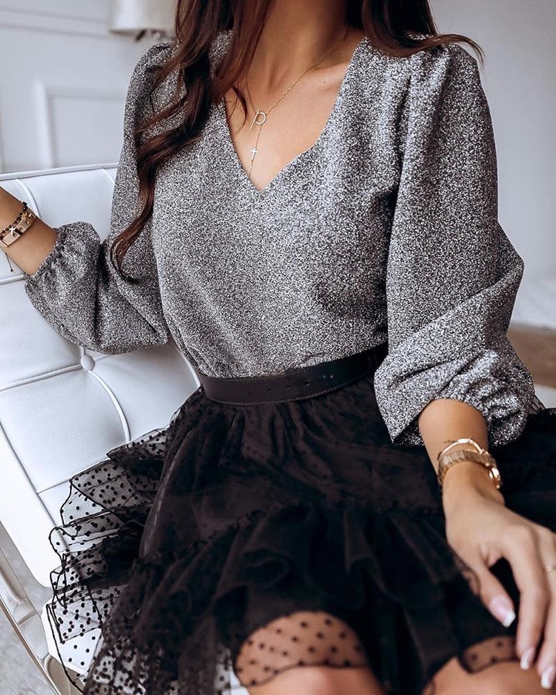 boutiquefeel / Blusa casual com decote em v e manga longa