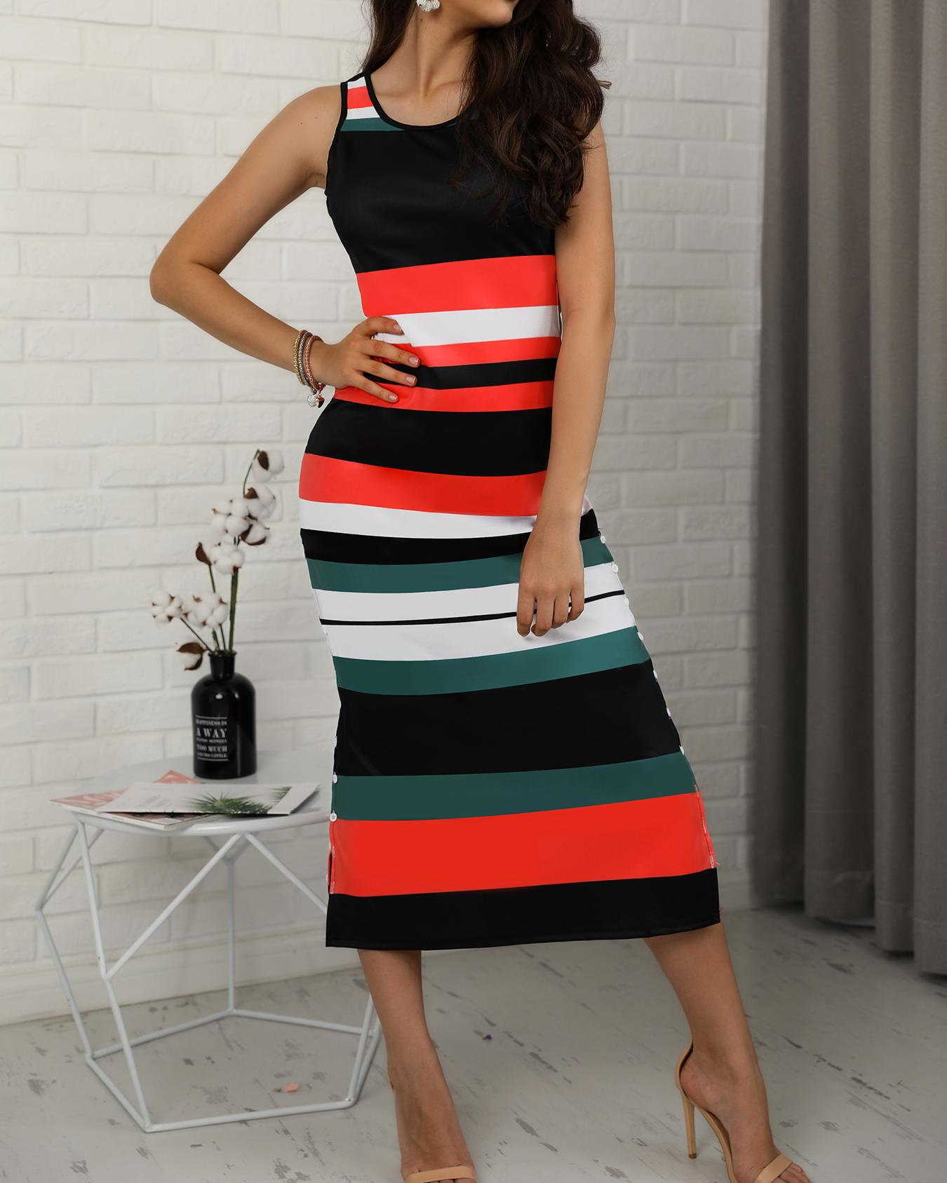 Contrast Striped Button Side Bodycon Dress фото