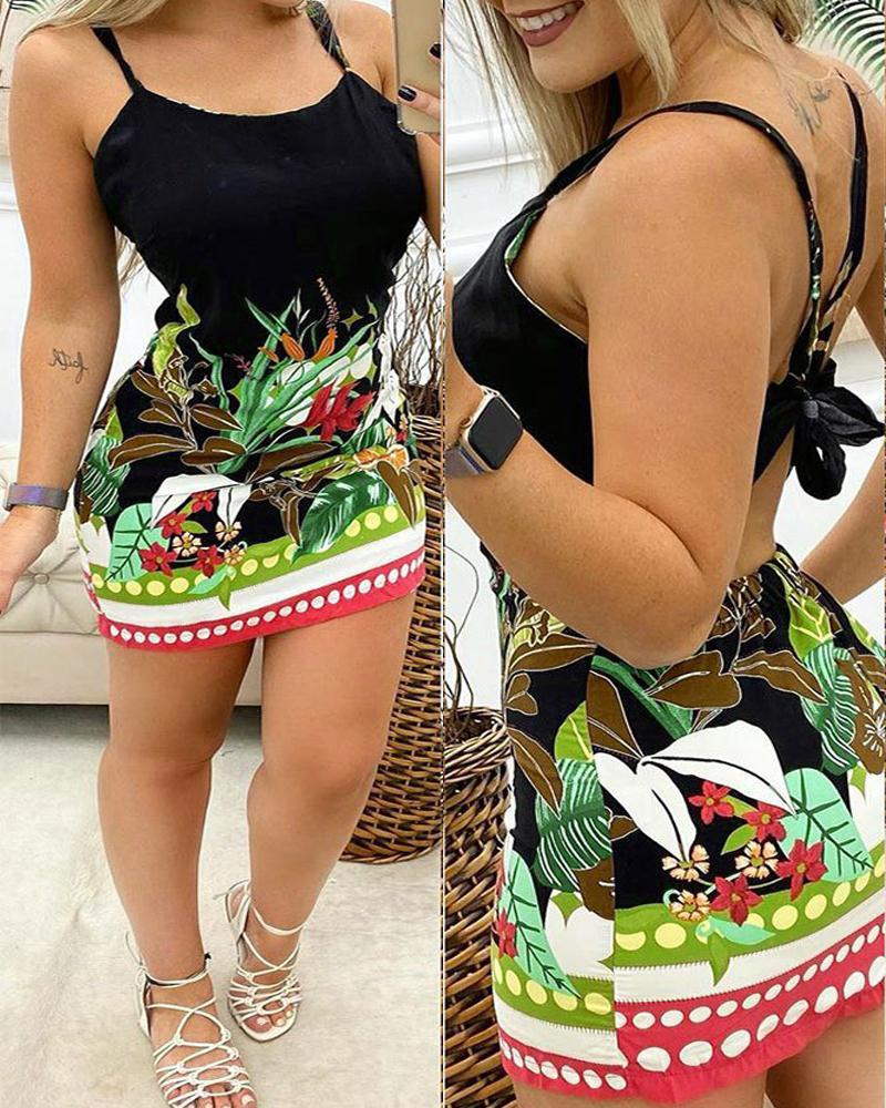 chicme / Vestido ajustado con cintura cortada y estampado floral