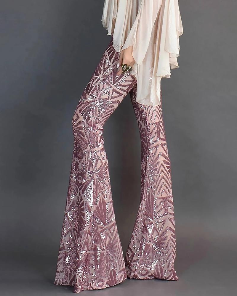 ivrose / Calças de lantejoulas com cintura alta e glitter