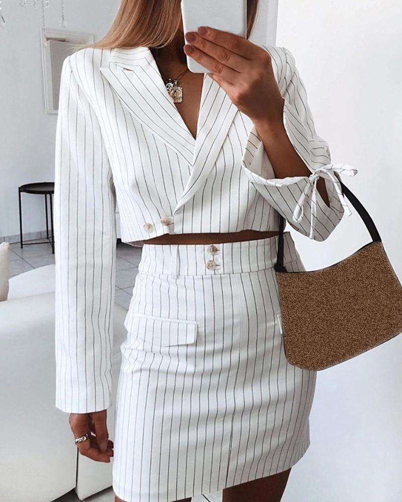 ivrose / Pinstripes Notched Collar Crop Blazer & Buttoned Skirt Sets