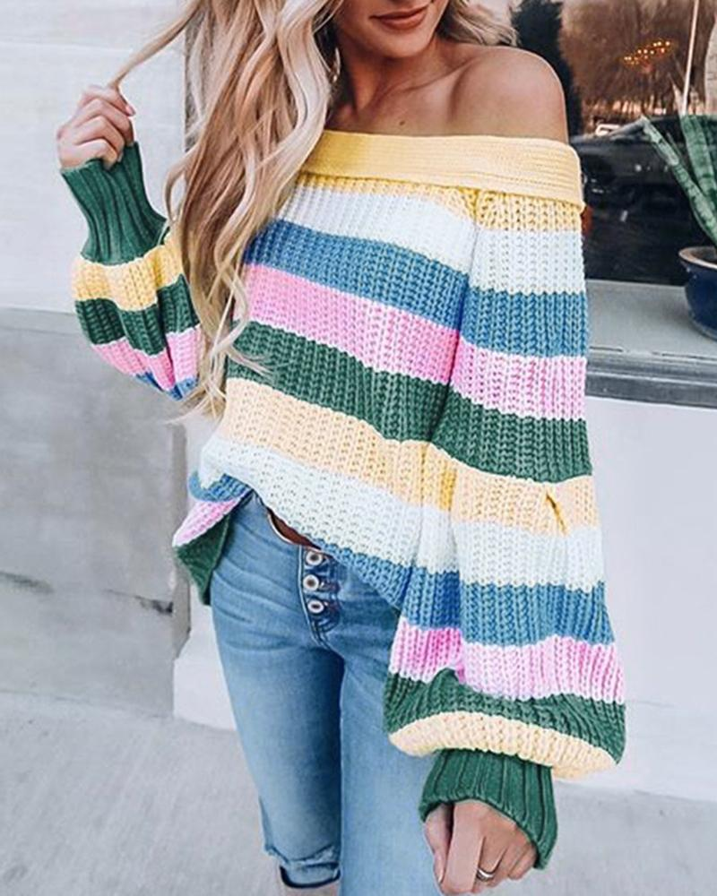 Off Shoulder Striped Insert Casual Sweater фото